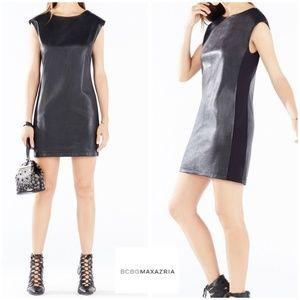 BCBGMAXAZRIA KARLEE BLACK FAUX LEATHER SHIFT DRESS